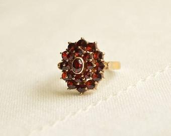 Art Deco Bohemian GARNET Silver 900 Ring, Antique Garnet Ring, Bohemian Garnet Jewelry, Antique Ring Size 4.5
