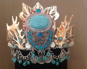 Turquoise Amulet Shell Crown