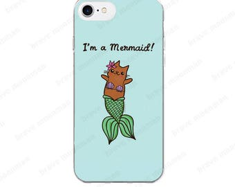 Mermaid iPhone 7 Case I'm a Mermaid Gift Mermaid Cat Phone Case Clear iPhone 6s Case Merkitty