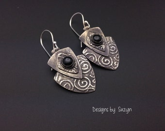 Earrings, silver, tribal, artisan, shield, handmade,  Dangle earrings, black onyx, black stones