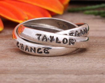 Personalized Mom's Ring with Children's Names. Mothers Ring Handstamped with Names or Dates. Sterling Silver Triple Ring by Nelle and Lizzy.