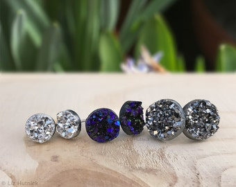 Faux Druzy Stud Earrings. 3 Pair Set of Glitter Posts, Galaxy Collection - Dark Silver, Black, Purple, Blue, and Silver Metallic