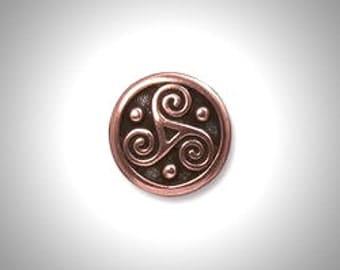 Copper Triskelion Lapel Pin Celtic Boutonniere Triskele Tie Tack, Irish Jewelry Brooch Groomsmen Gift Celtic Jewelry Outlander Lapel Pin