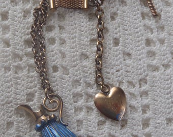 Vintage Vest Pocket Mesh Watch Chain Pitcher Fob And Heart Charm
