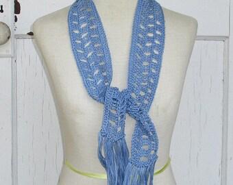 Periwinkle Blue Crochet Skinny Scarf with Tassel Fringe, Narrow Blue Neck Warmer Ready to Ship