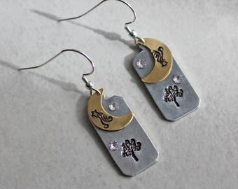 Tree Earrings - Stamped Pewter Earrings - Moon and Star Earrings - Metalwork Earrings - Nature Earrings - Silver and Brass Earrings