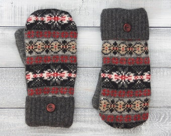 Sweater mittens, recycled sweater mittens, wool mittens, black and red mittens, womens mittens, fleece-lined mittens, Fair Isle Pattern
