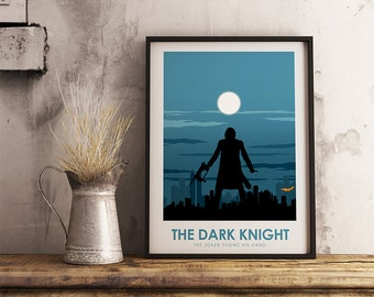 The Dark Knight Poster Print - The Dark Knight - Travel Poster Style Art Print - Batman Poster