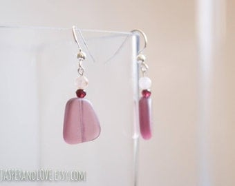 LILA earrings, recycled glass earrings, deep purple earrings, glass and garnet dangle earrings, lavender drop earrings, sterling silver