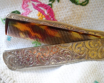 Vintage Sterling Silver Folding Comb, 830 FS Swedish Silver Comb in  Case, Rare Engraved Floral Design Comb, Gentleman's Pocket Comb