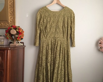 1960s Green Lace Party Dress / 60s Olive Green Dress