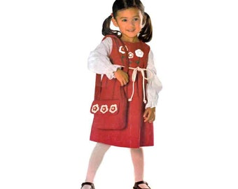 New Look 6335 Toddler Girl Gathered Waist Dress, Shoulder Purse, Floppy Hat, Hooded Cape Sewing Pattern Sz 1/2-4 Chest 19-23in/29-58cm UNCUT