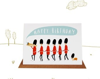 Happy Birthday Marching Soldiers and Corgi Birthday Card