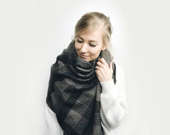 Blanket Scarf Plaid, Oversized Poncho Shawl ⨯ Wool Flannel ⨯ in GRAY + BLACK