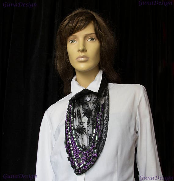 Kerchief Necklace from Black Lace and Purple Beads