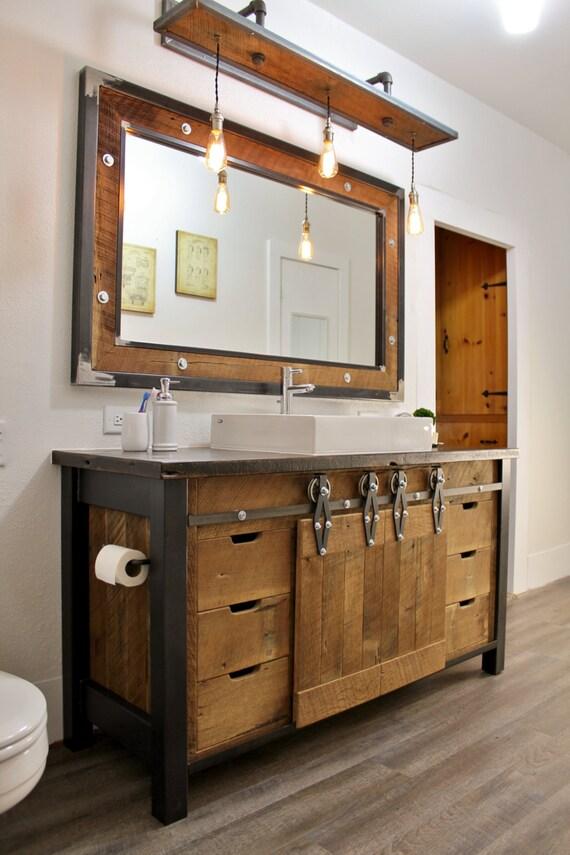 Rustic Industrial Vanity Reclaimed Barn Wood Vanity by Keeriah