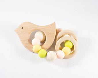 Wooden Toy - Bird Teether - Teething Toy - Organic Baby Toy - Baby Gift - Teether - Rattle - Wooden Teether - Natural Baby Toy