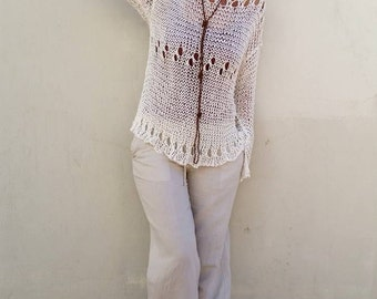 Blush pink sweater cotton knit sweater summer sweater women