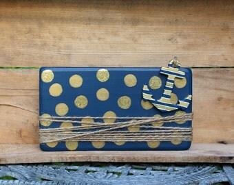 Anchor frame, Nautical decor, Wood Block Frame, Navy and Gold, Wood Frame, Blue frame, Gold, Anchor decor, Nautical frame, Polka Dots