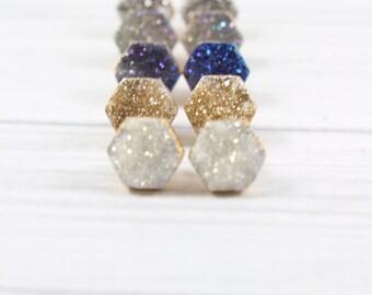 Druzy Studs, Druzy Stud Earrings, Druzy Post Earrings, Druzy Earrings, Hexagon Stud Earrings, Gift for Her, Post Earrings, Gold Earrings