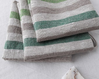 Linen towel Rough massage towel Striped burlap linen Long green towel Home spa linen SPA accessories Thick stripe linen Sauna towel Bathroom