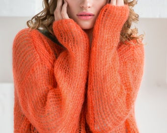Orange sweater, Chunky sweater, mohair loose sweater, Knitted see-through sweater, Bohemian sweater, Elegant sweater, Spring knit sweater