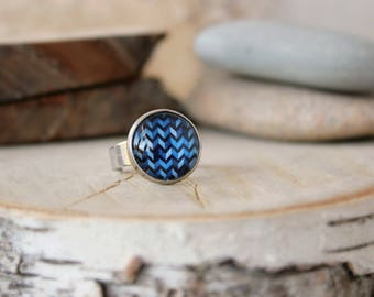 Blue Zig Zag Ring, Adjustable Ring, Glass Dome Ring, Chevron Jewelry