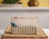 Little Bird On a White Picket Fence - Ceramic Business Card Holder - Blue Bird - READY TO SHIP