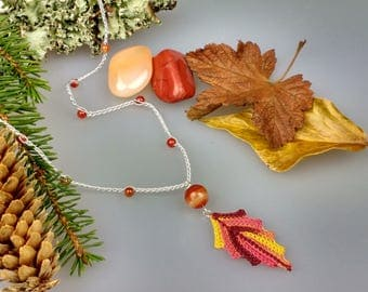Autumn Leaf Necklace, Autumn Leaves, Crochet Necklace, Nature Lover Gift, Fall Leaf Pendant, Woodland Necklace, Leaf Jewelry, Nature Pendant