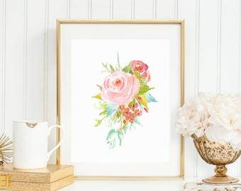 Floral Printable Pink Floral Wall Art Watercolor Flowers Pink Nursery Decor Floral Nursery Decor Home Office Decor Floral Spray Print 117