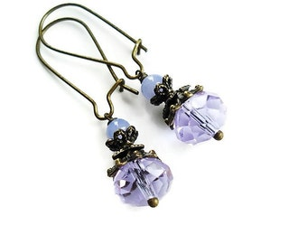 Lavender Earrings Crystal Jewelry Vintage Style Dangle Earrings Purple Jewelry Long Earrings Bridesmaid Gift Purple Earrings Elegant Jewelry