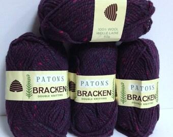 Wool Bundle Patons Bracken DK Double Knitting 100% Wool from Great Britain Deep Burgundy Tweed Wool Destash Wool Knitting Yarn