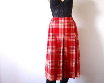 1960s Wool A-Line Skirt vintage red and cream plaid pleated skirt