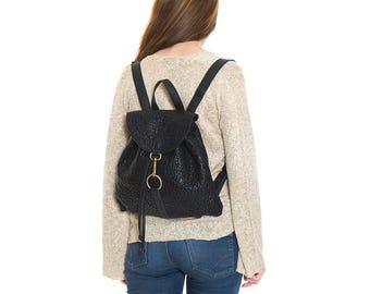 Black leather backpack, leather rucksack, school backpack, medium size backpack, laptop backpack, everyday backpack, women backpack