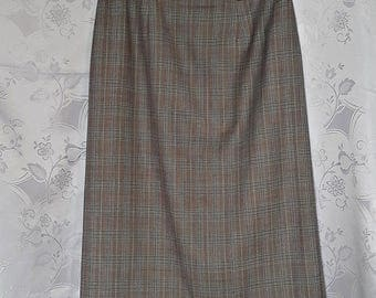 Vintage Authentic Givenchy Plaids and Checks  Gray Wool Blend Women's Skirt Size US10 EU38
