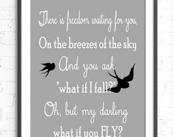There Is Freedom Waiting For You Quote,  Wall Art, But What If You Fly Print, Black Gray White Decor, Teen Room, Inspirational Print, Birds