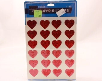 Vintage Hallmark Glitter and Reflective Heart Stickers. 1 Package. 1 Sheet per Package