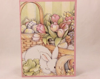 "Among Friends Religious Greeting Cards. One Card and Envelope. ""Spring Bunny"""
