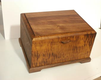 Unique Heirloom Box made of figured maple and walnut - a stand-out artistic box