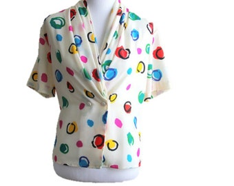 1980s Sz L White Blouse with Colored Circles /Double Breasted Buttons Cowl Neck/Woman's Unique Vintage Shirt / OSFM / Excellent Condition