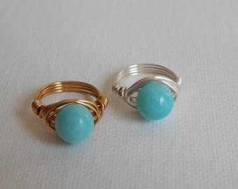 Wire wrapped amazonite ring, gold wire wrapped ring, boho style, everyday ring, festival chic jewelry, silver wire ring, aqua blue