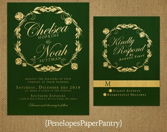 Elegant Emerald Christmas Wedding Invitation,Emerald,Gold,Jingle Bells,Wreath,Shimmery,Traditional,Custom,Printed Invitation,Wedding Set