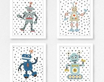 Baby Boy Nursery Decor, Robot Nursery Wall Art, Robot Prints, Blue and Grey Nursery, Robot Baby Shower Gift, Baby Boy Gift, Robot Bedroom