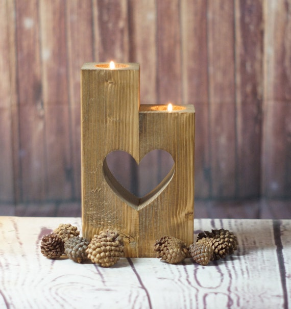 Reclaimed wood candle holder rustic tealight holder rustic for Rustic wood candle holders
