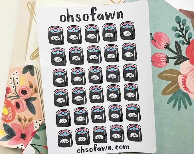 Hand Drawn Lush Bag Stickers