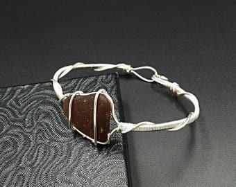 Beach glass bangle bracelet, brown sea glass, beach sea glass jewelry, wire wrapped, wire wrap, wire jewelry, boho jewelry, silver bracelet