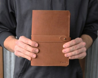 The Inventor PERSONALIZED Fine Real Leather Journal Padfolio Notebook Cover A5 Moleskine Diary Diaries Business corporate gift