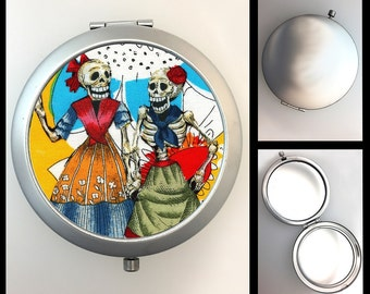 Compact Mirror Day of the Dead Skeleton Girls