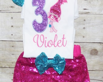 Trolls birthday outfit, Trolls outfit, Trolls birthday, Trolls birthday shirt, Trolls birthday invitations, trolls birthday party, Pink trol