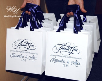 30 Wedding Welcome Bags with Navy Blue satin ribbon & names Thank you for coming! Personalized paper gift bags for wedding guests